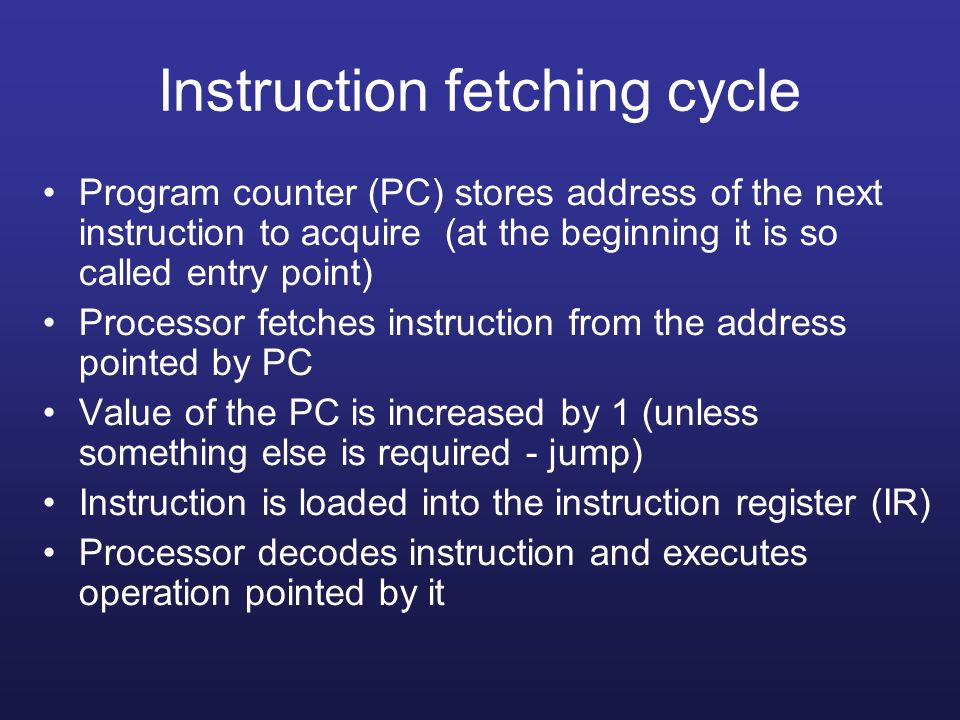 Instruction fetching cycle