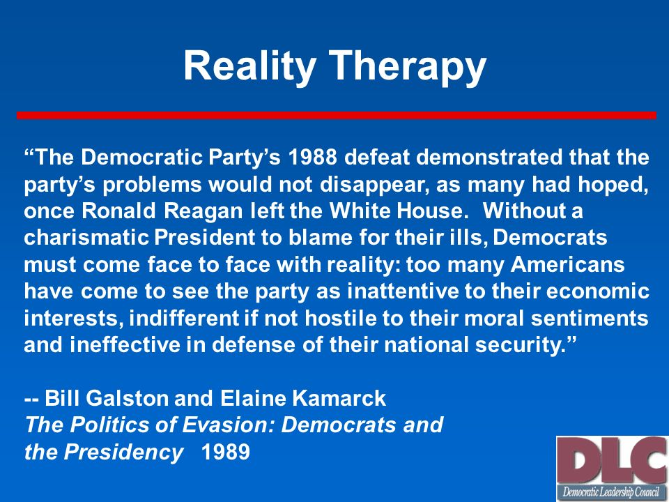 Reality Therapy The Democratic Party's 1988 defeat demonstrated that the. party's problems would not disappear, as many had hoped,