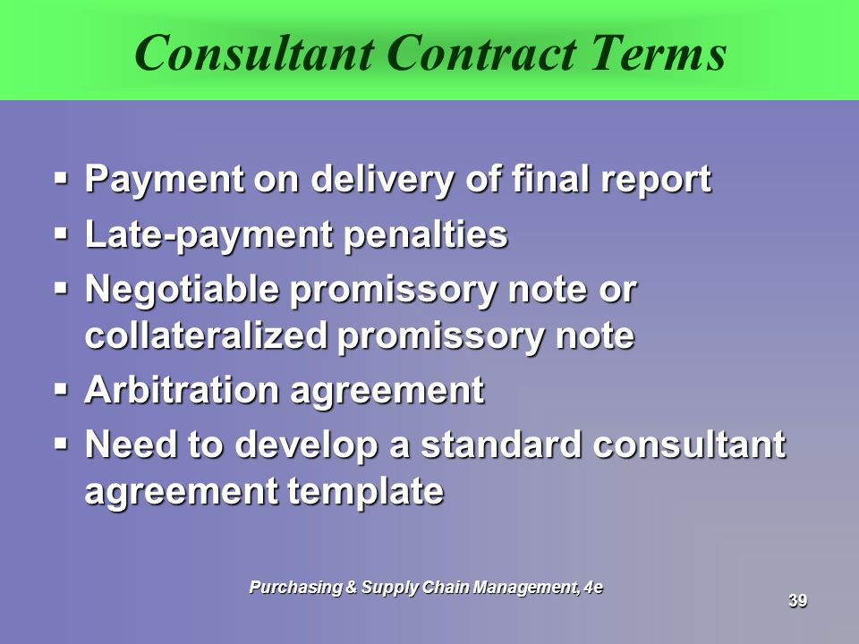 standard consulting agreement template - monczka handfield giunipero patterson ppt video
