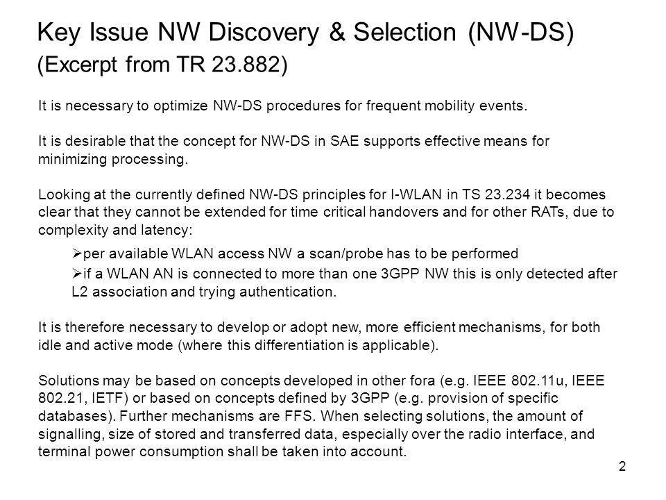 Key Issue NW Discovery & Selection (NW-DS) (Excerpt from TR 23.882)