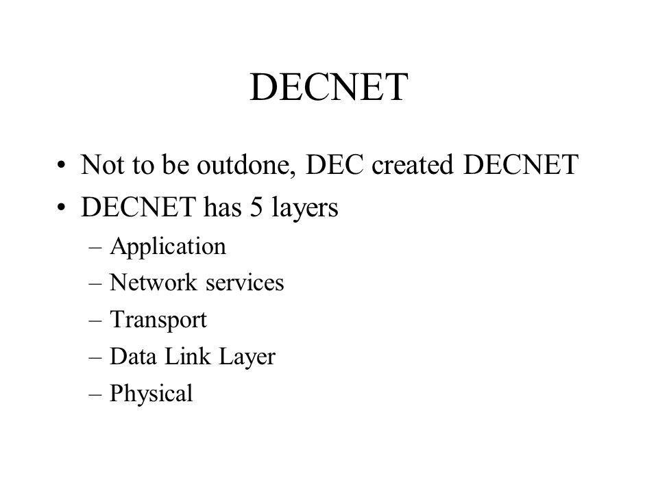 DECNET Not to be outdone, DEC created DECNET DECNET has 5 layers