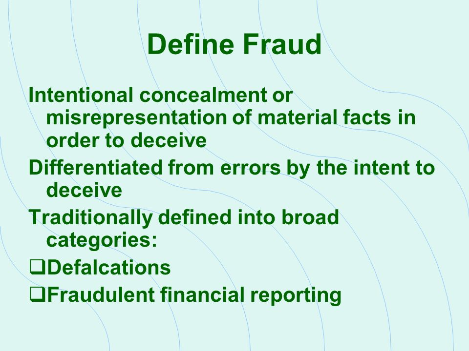 fraudulent financial reporting schemes Fraudulent financial reporting schemes abstract routine examinations, audits, or internal control procedures, do not reveal most accounting fraud only 20% is revealed by way of auditing, however whistle blowing accounts for most revealed accounting fraud.