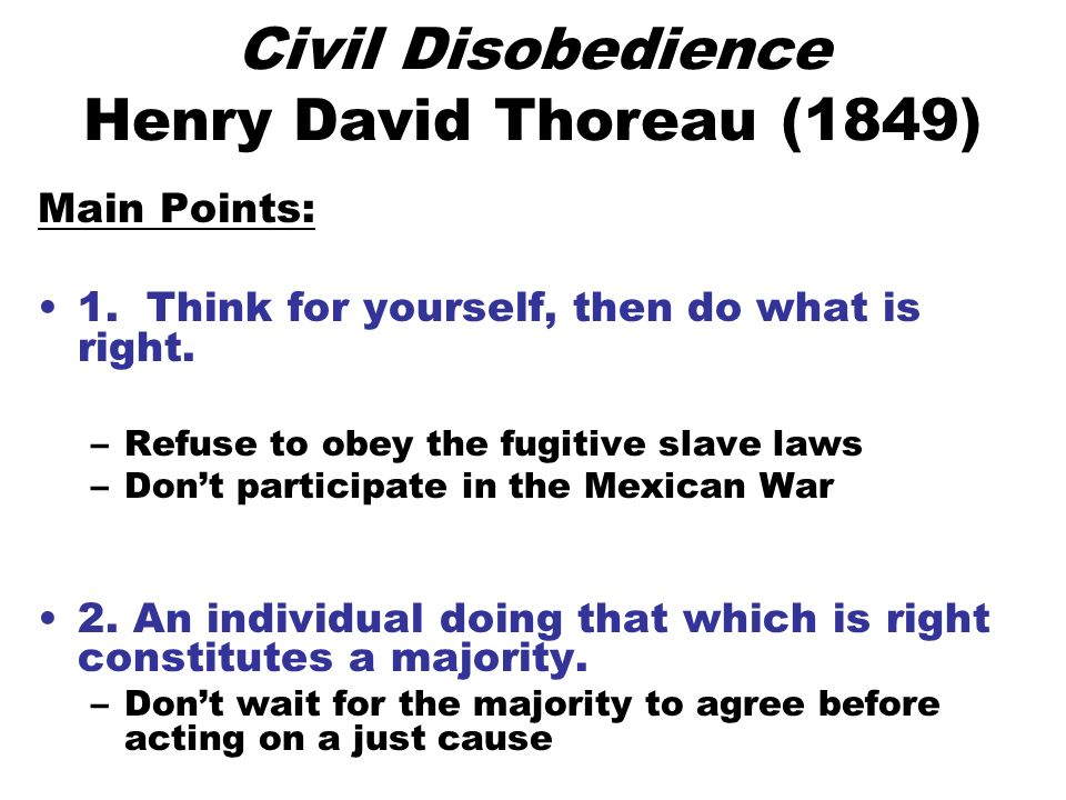 Civil disobedience main point thesis