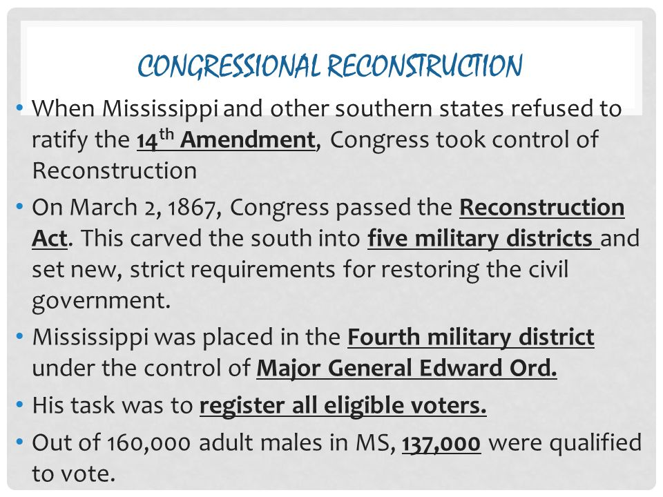 congressional reconstruction Made available courtesy of the alabama historical association alabama blacks  and the congressional reconstruction acts of 1867 loren schweninger.
