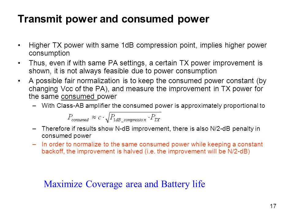 Transmit power and consumed power