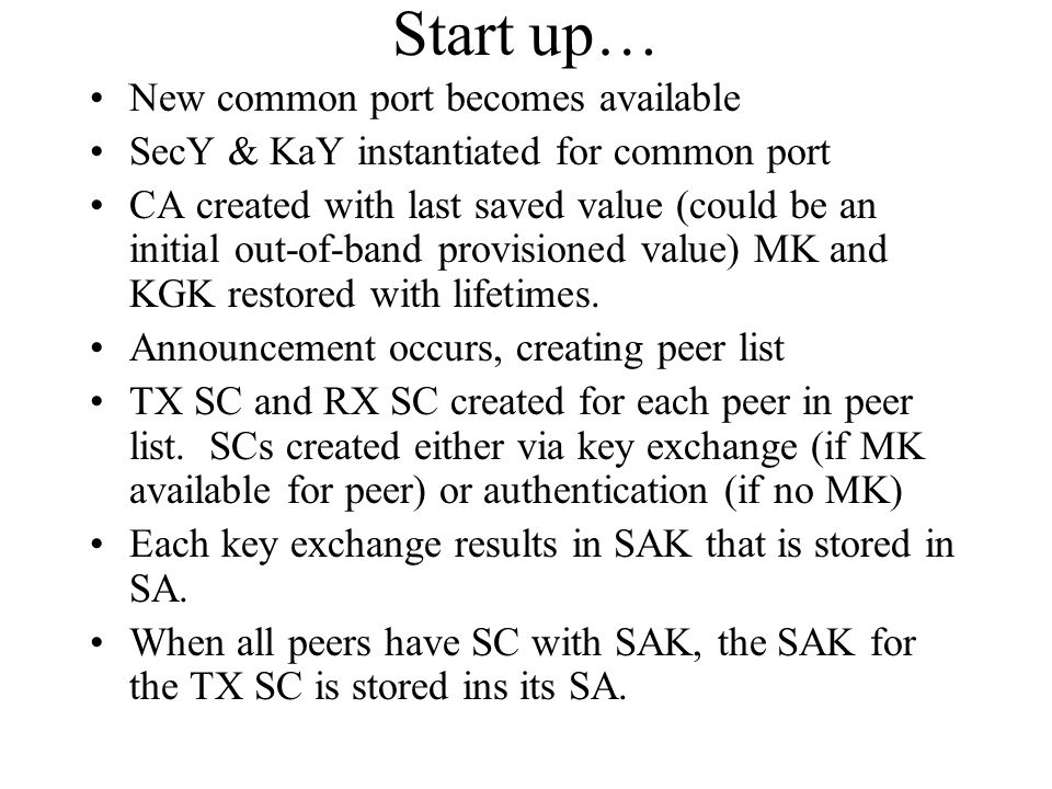 Start up… New common port becomes available