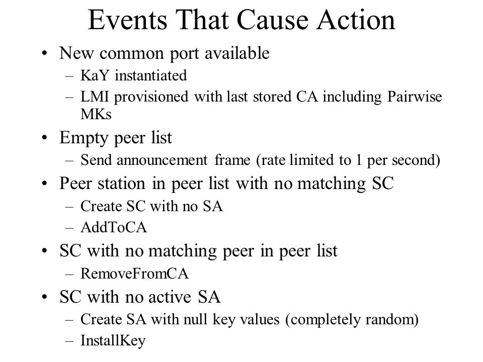 Events That Cause Action