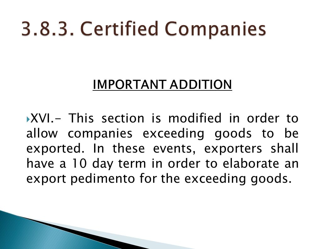 3.8.3. Certified Companies IMPORTANT ADDITION