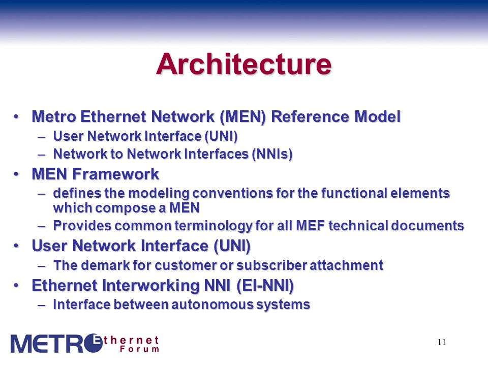 Architecture Metro Ethernet Network (MEN) Reference Model