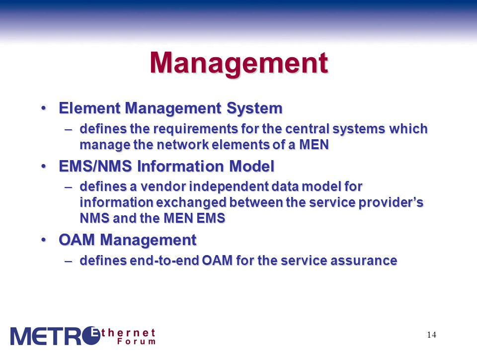 Management Element Management System EMS/NMS Information Model