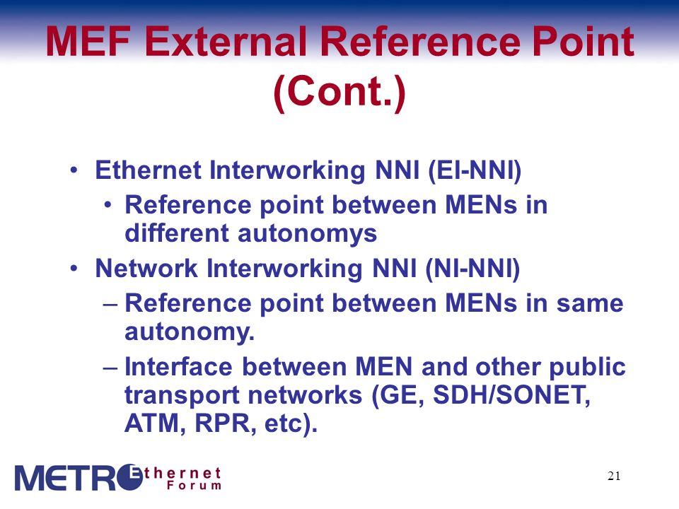 MEF External Reference Point (Cont.)