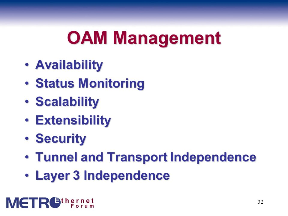 OAM Management Availability Status Monitoring Scalability