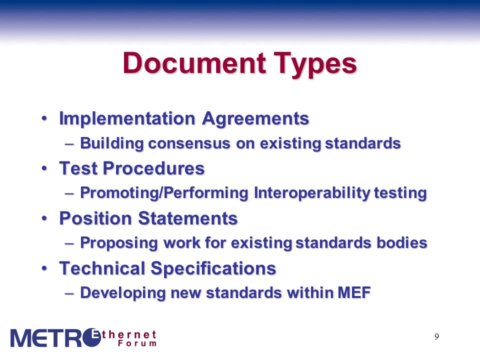 Document Types Implementation Agreements Test Procedures