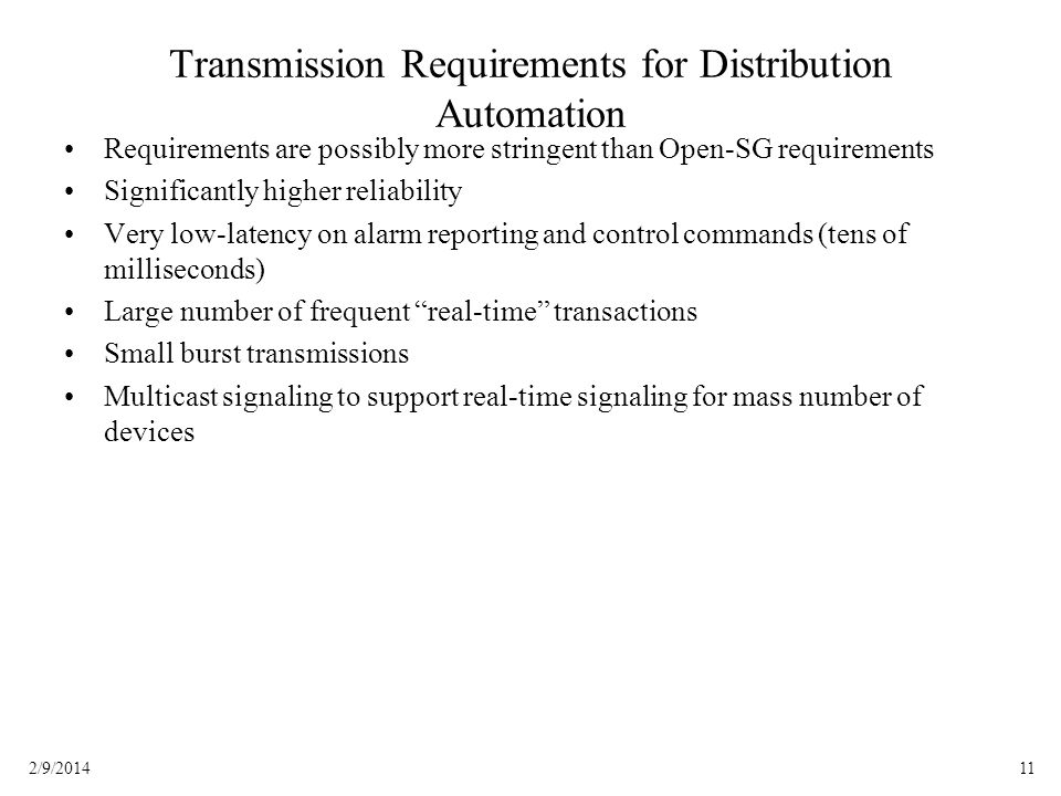 Transmission Requirements for Distribution Automation