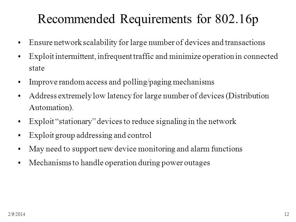Recommended Requirements for 802.16p
