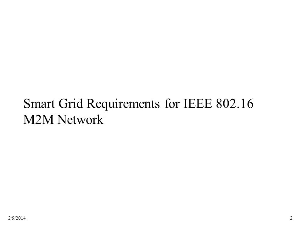 Smart Grid Requirements for IEEE 802.16 M2M Network