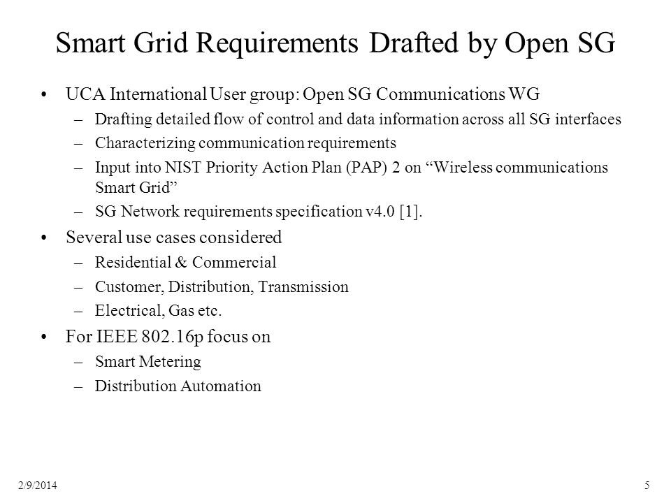 Smart Grid Requirements Drafted by Open SG