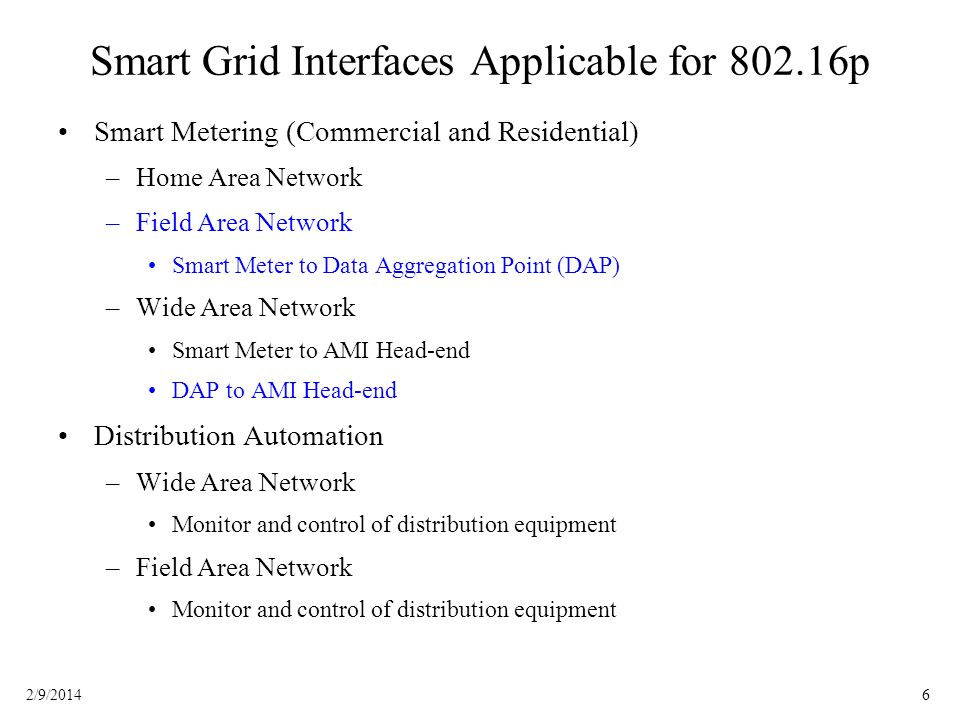 Smart Grid Interfaces Applicable for 802.16p
