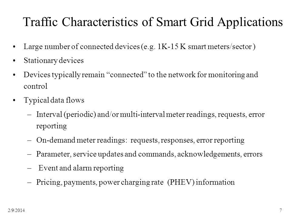 Traffic Characteristics of Smart Grid Applications