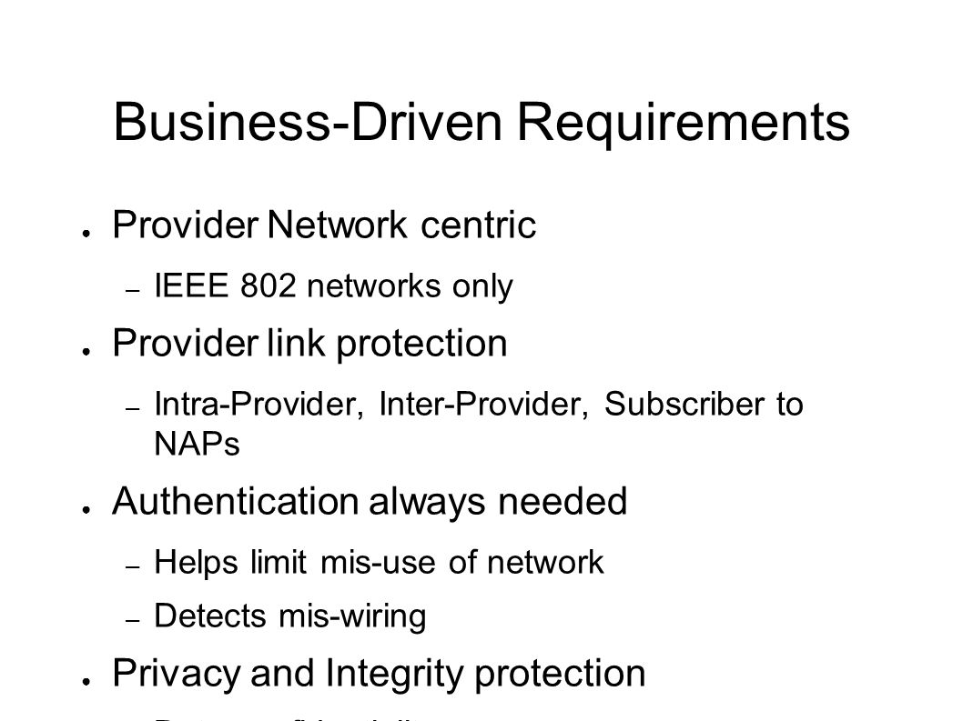 Business-Driven Requirements