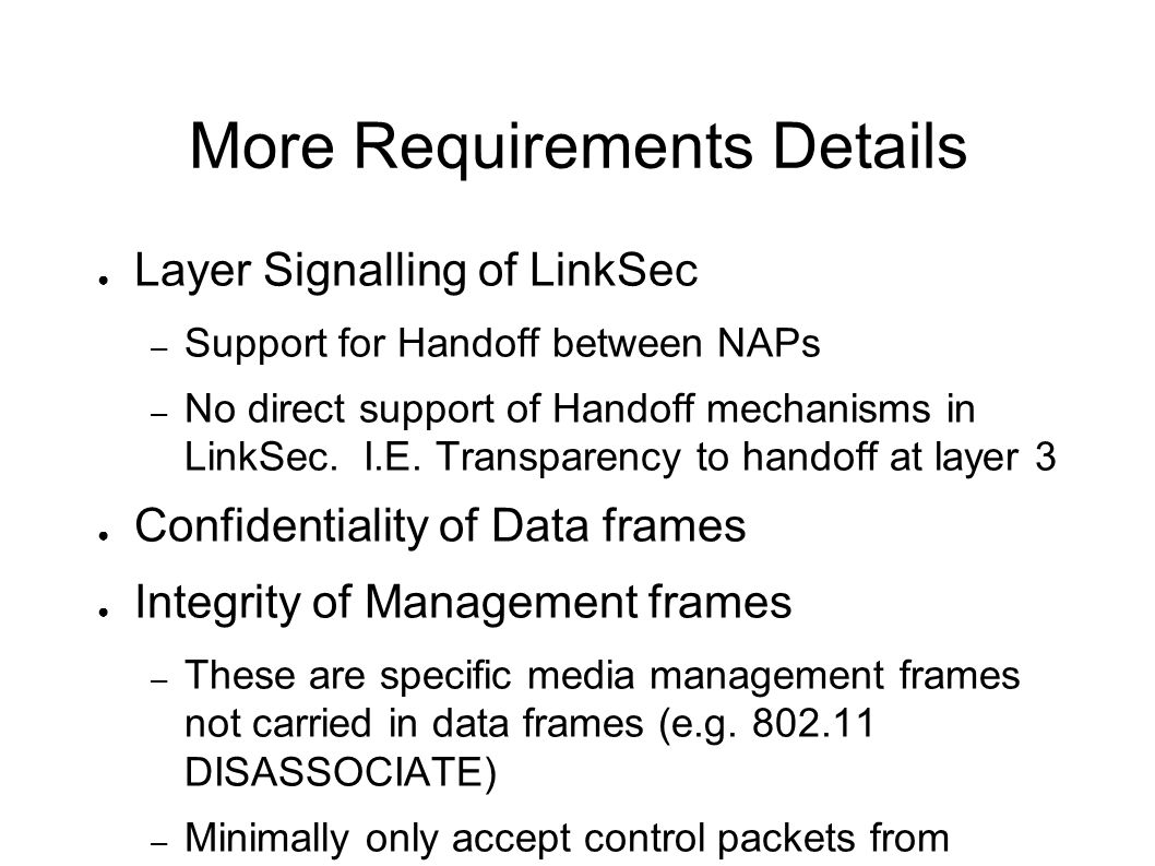 More Requirements Details