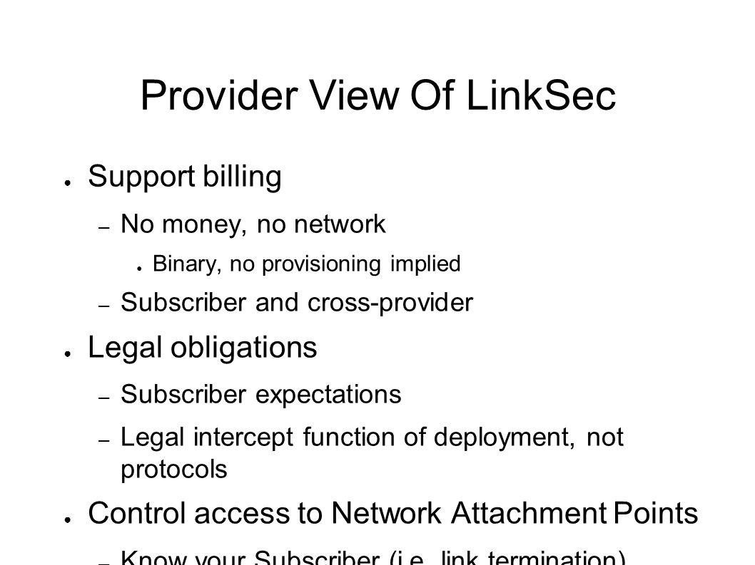 Provider View Of LinkSec