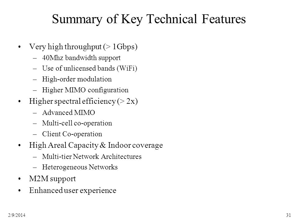 Summary of Key Technical Features