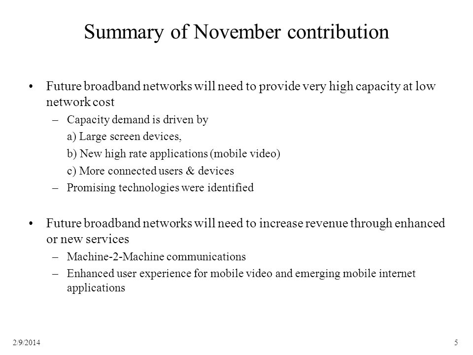 Summary of November contribution