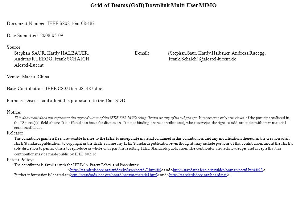 Grid-of-Beams (GoB) Downlink Multi-User MIMO