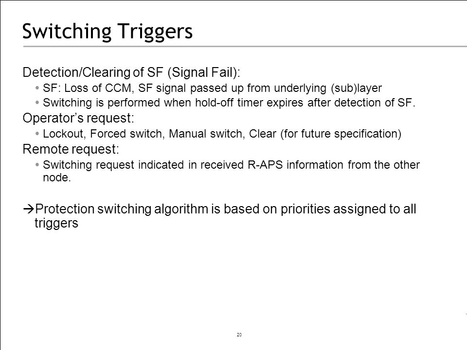 Switching Triggers Detection/Clearing of SF (Signal Fail):