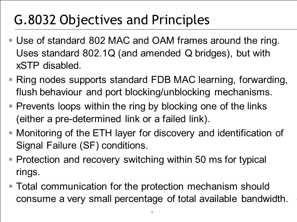 G.8032 Objectives and Principles