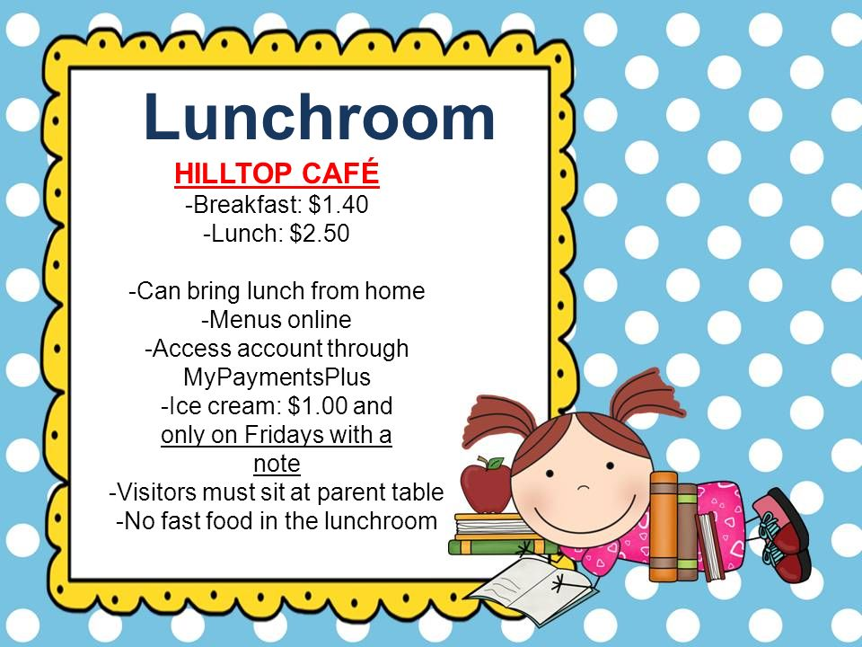 Lunchroom HILLTOP CAFÉ -Breakfast: $1.40 -Lunch: $2.50