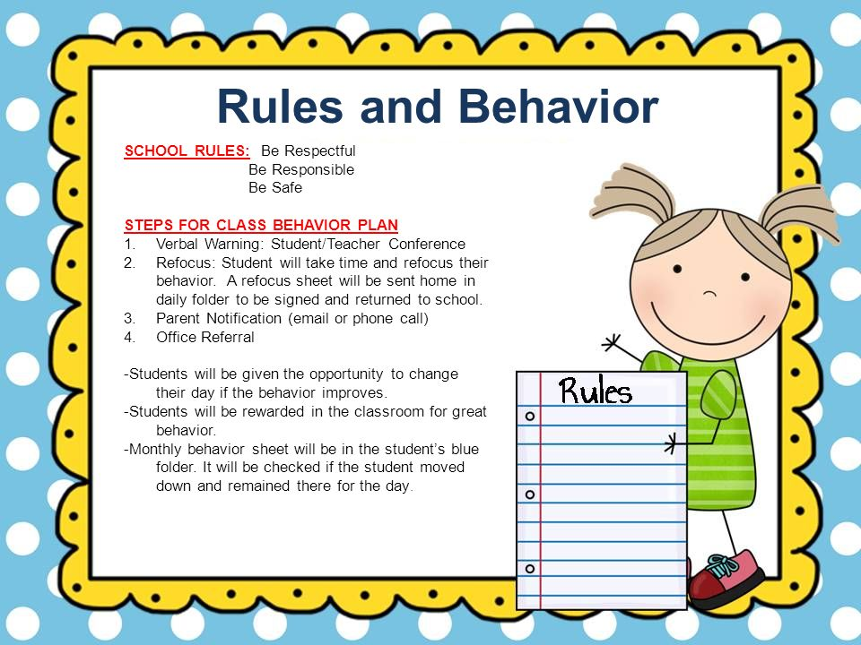 Rules and Behavior SCHOOL RULES: Be Respectful Be Responsible Be Safe
