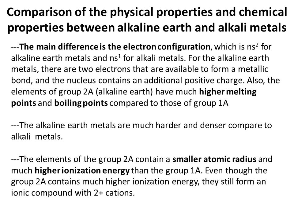 Lecture 12 s elements of the group alkaline earth metals comparison of the physical properties and chemical properties between alkaline earth and alkali metals urtaz Images