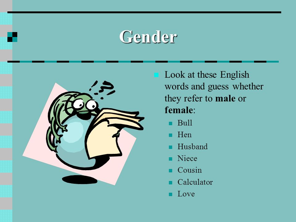 GenderLook at these English words and guess whether they refer to male or female: Bull. Hen. Husband.