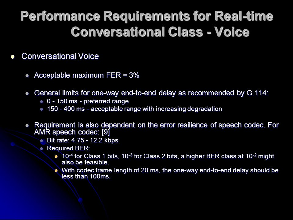 Performance Requirements for Real-time Conversational Class - Voice