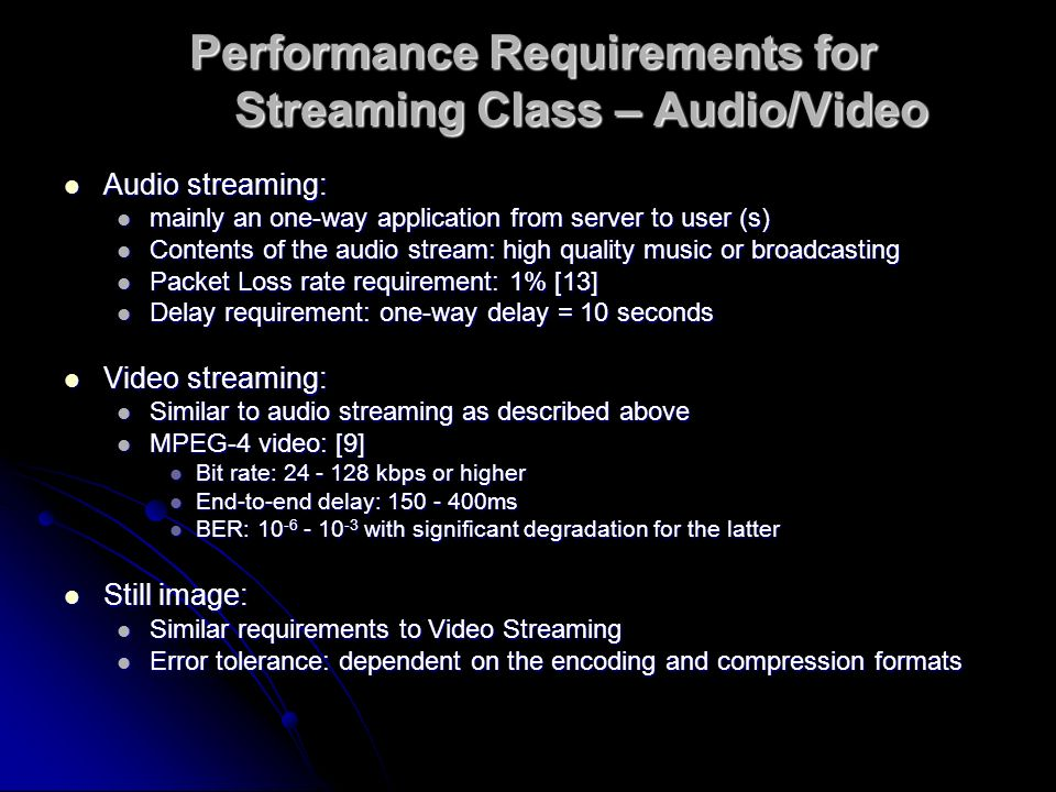 Performance Requirements for Streaming Class – Audio/Video