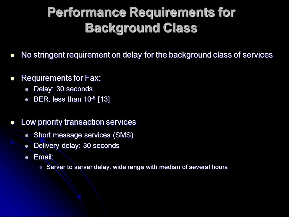 Performance Requirements for Background Class