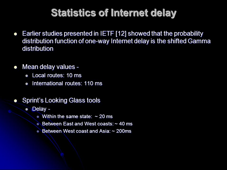 Statistics of Internet delay