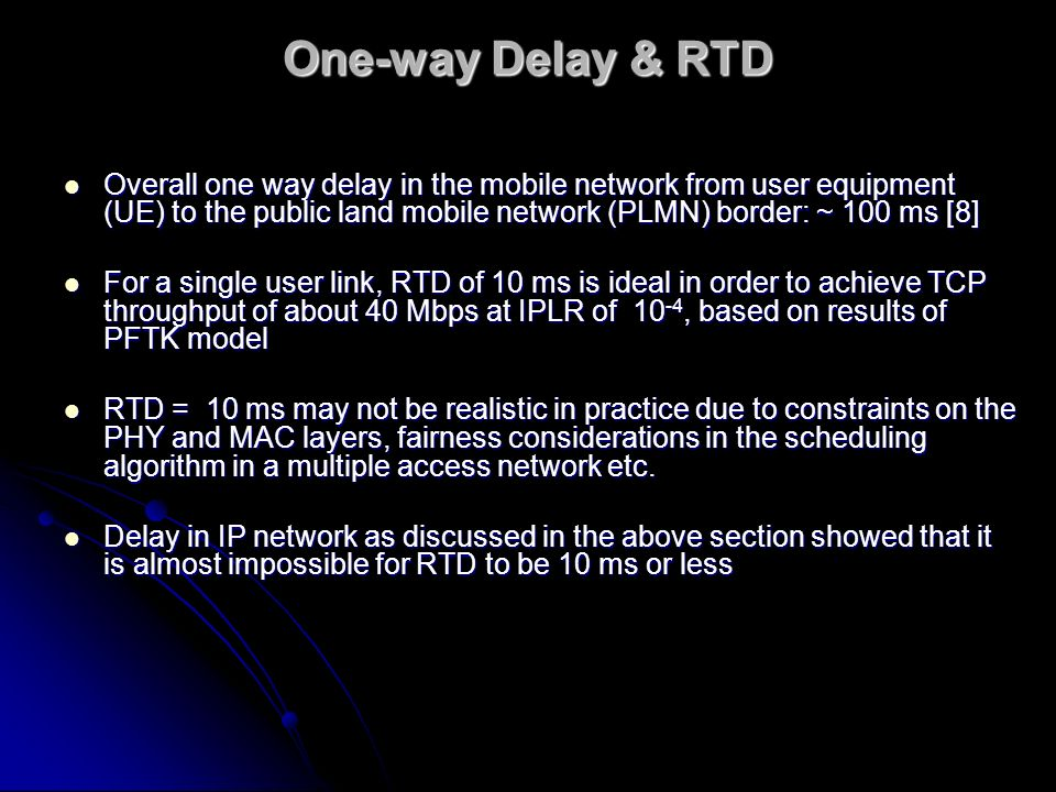 One-way Delay & RTD