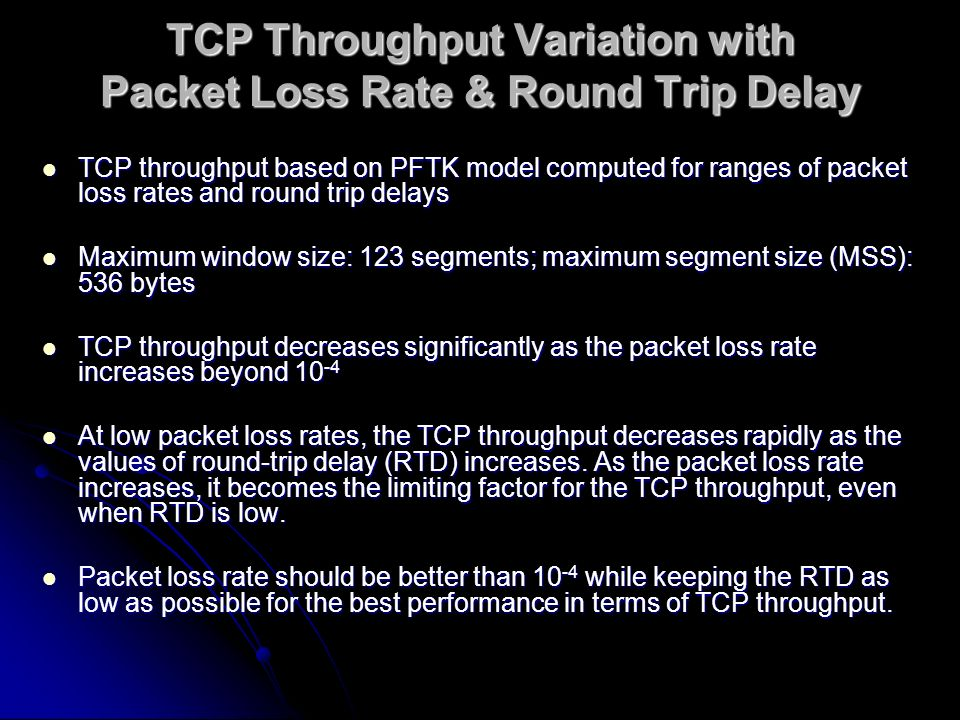 TCP Throughput Variation with Packet Loss Rate & Round Trip Delay