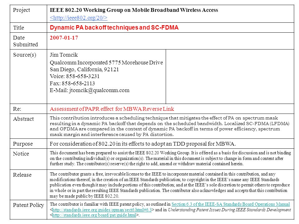 IEEE 802.20 Working Group on Mobile Broadband Wireless Access