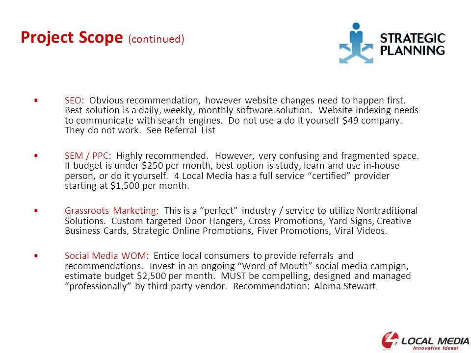 scope of strategic marketing This brand strategy plan template is designed for use by a corporate marketing department define the scope of the project as it relates to the branding.