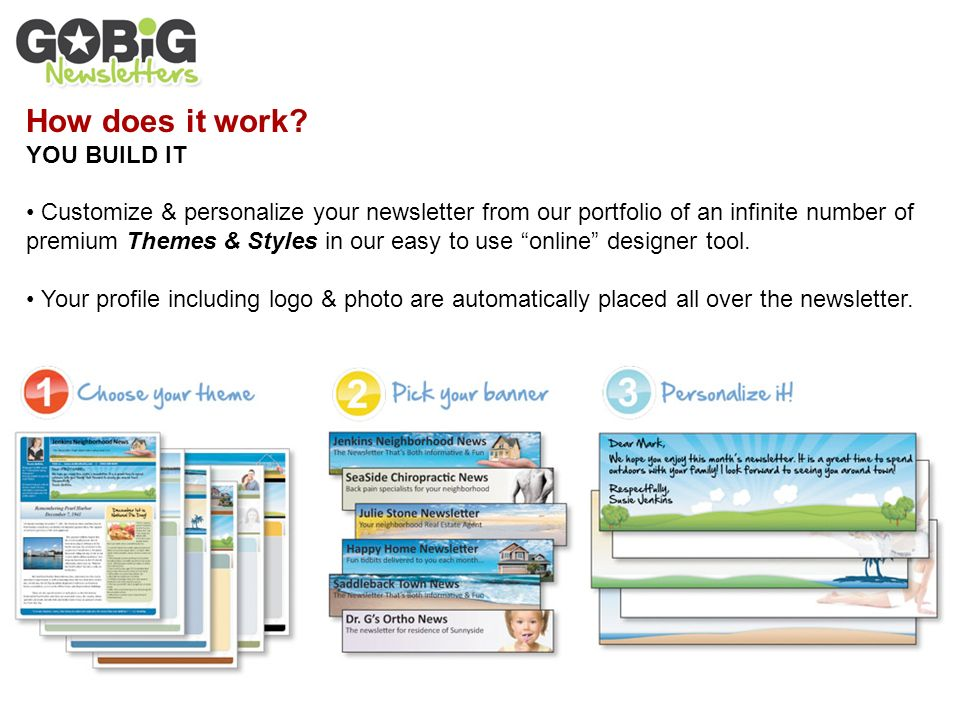 PERSONALIZE THE THEME in your print & mail newsletter to match your ...