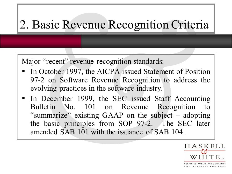 experience with revenue recognition At tensoft, experience has shown us that understanding revenue recognition is  really only half the battle the other half requires understanding.