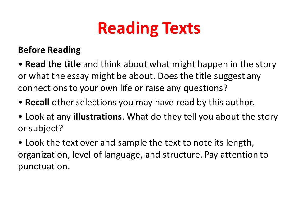 literacy test reading selections ppt  3 reading
