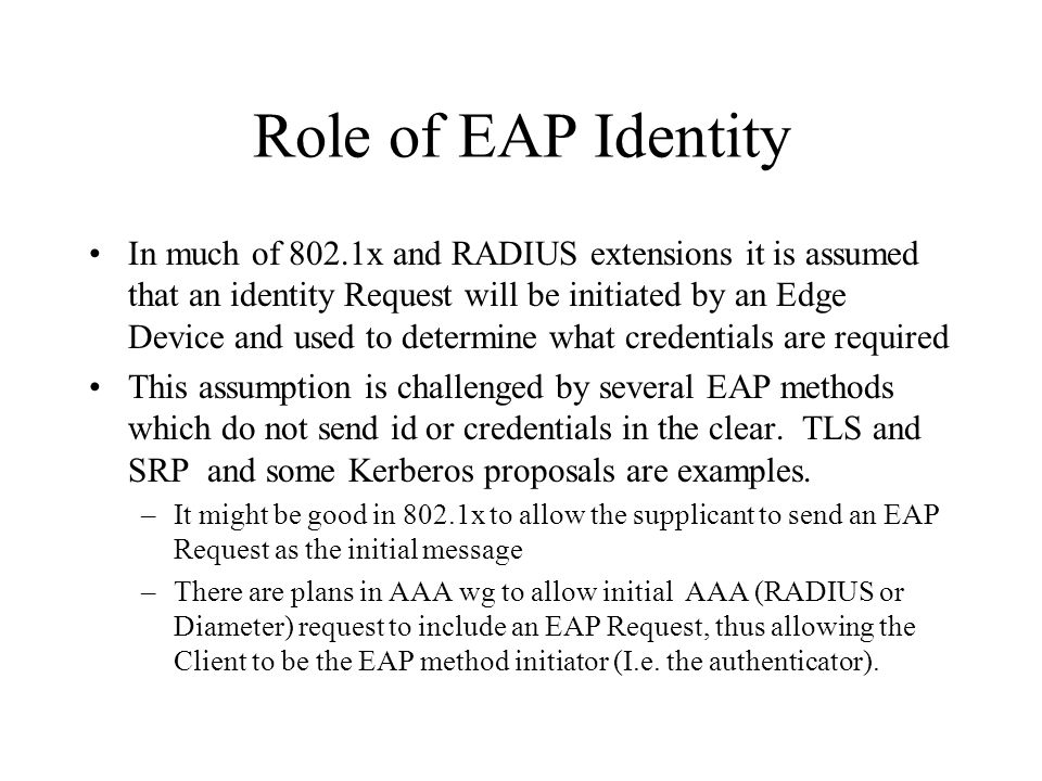Role of EAP Identity