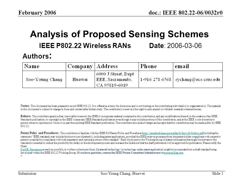 Analysis of Proposed Sensing Schemes