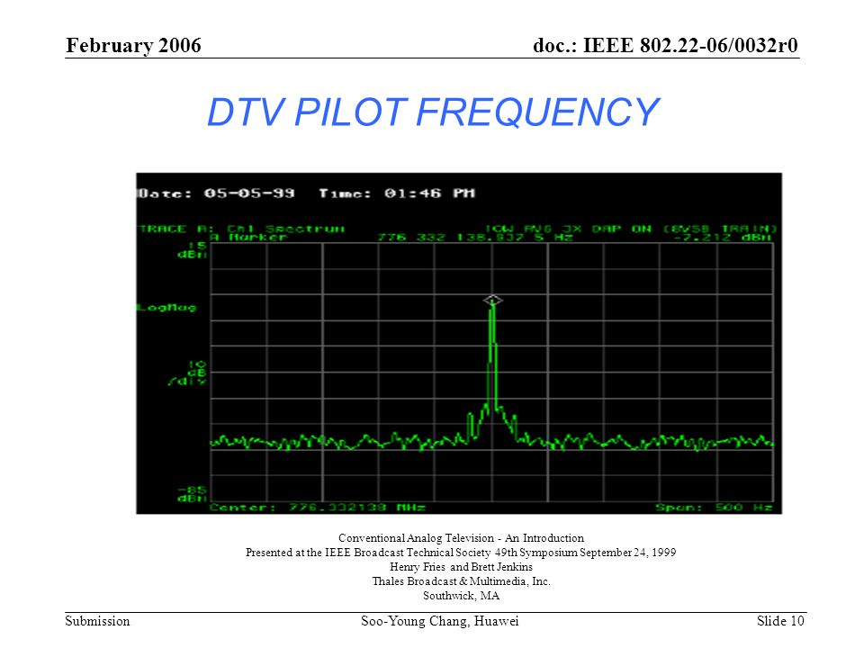 DTV PILOT FREQUENCY February 2006 doc.: IEEE 802.22-06/0032r0