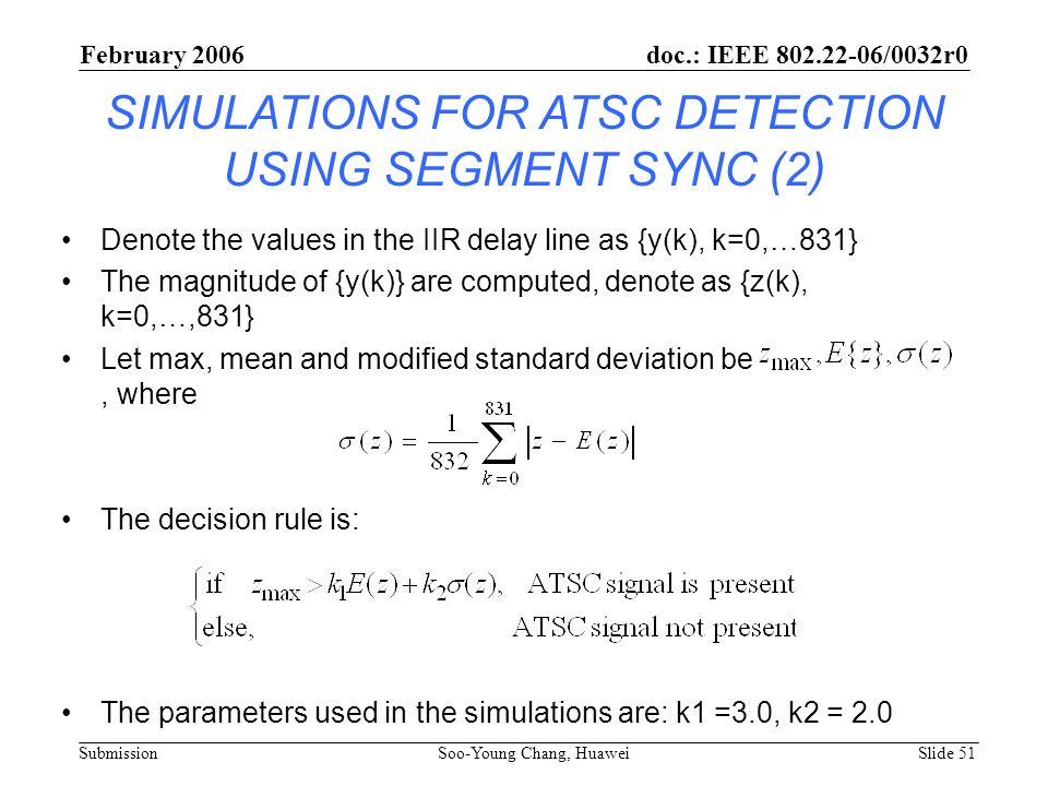 SIMULATIONS FOR ATSC DETECTION USING SEGMENT SYNC (2)